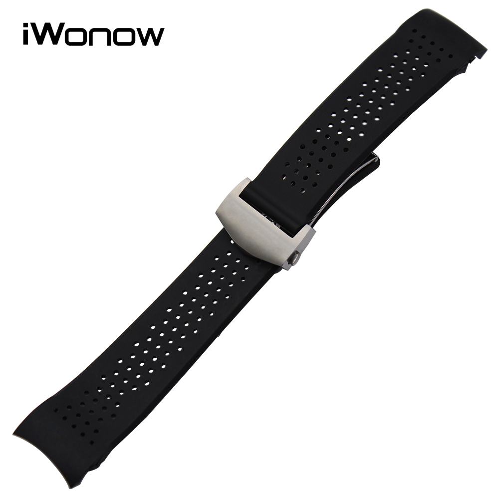 20mm 22mm Silicone Rubber Watchband for Carrera Aquaracer Curved End Watch Band Steel Butterfly Clasp Strap Wrist Bracelet Black curved end stainless steel watch band for breitling iwc tag heuer butterfly buckle strap wrist belt bracelet 18mm 20mm 22mm 24mm