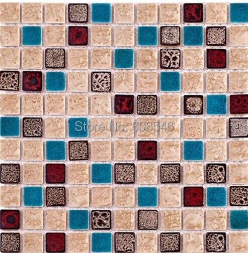 US $186.0 |Poliert porzellan wandfliesen mosaik MD CR01 blau keramik mosaik  porzellan fliesen backsplash badezimmer fliesen mosaik in Poliert ...