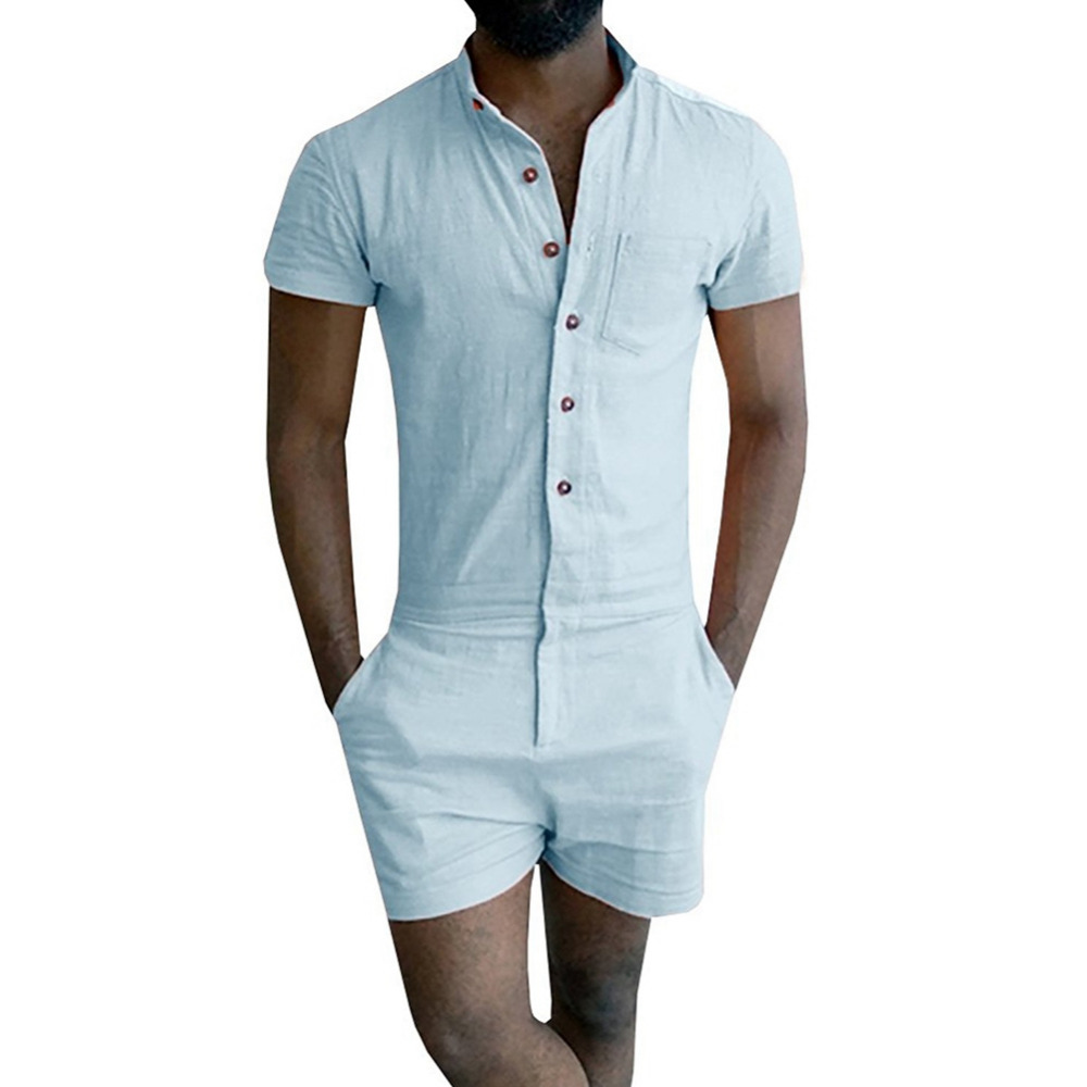 Mens Zipper Trousers Overalls Summer Fashion Short Sleeve Rompers Male Stretch Jumpsuit Single Breasted Short Cargo Pants Tops