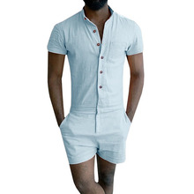 Mens Zipper Trousers Overalls Summer Fashion Short Sleeve Rompers Male Stretch Jumpsuit Si
