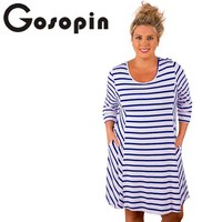 Gosopin Plus Size Dress Sleeve XXXL New Lady Striped T Shirt Pocket Dresses Women Blue White
