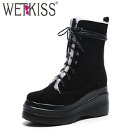 WETKISS 2018 Keep Warm Lamb Fur Inside Winter Boots Women High Wedges Platform Shoes Cow Suede