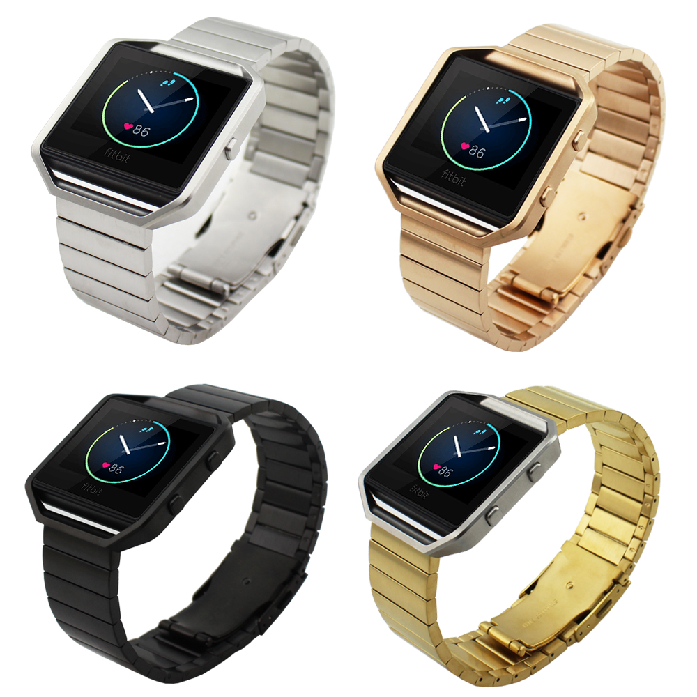 Silver black Golden font b Luxury b font Metal Stainless Steel Bracelet Strap For Fitbit Blaze