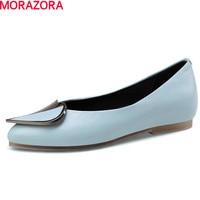 MORAZORA 2018 Fashion Elegant High Genuine Leather Women Flat Pointed Toe Party Shoes Woman Big Size