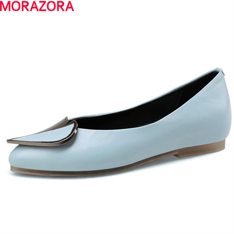 MORAZORA 2018 fashion elegant high genuine leather women flat pointed toe party shoes woman big size 34-43 creativesugar elegant pointed toe woman