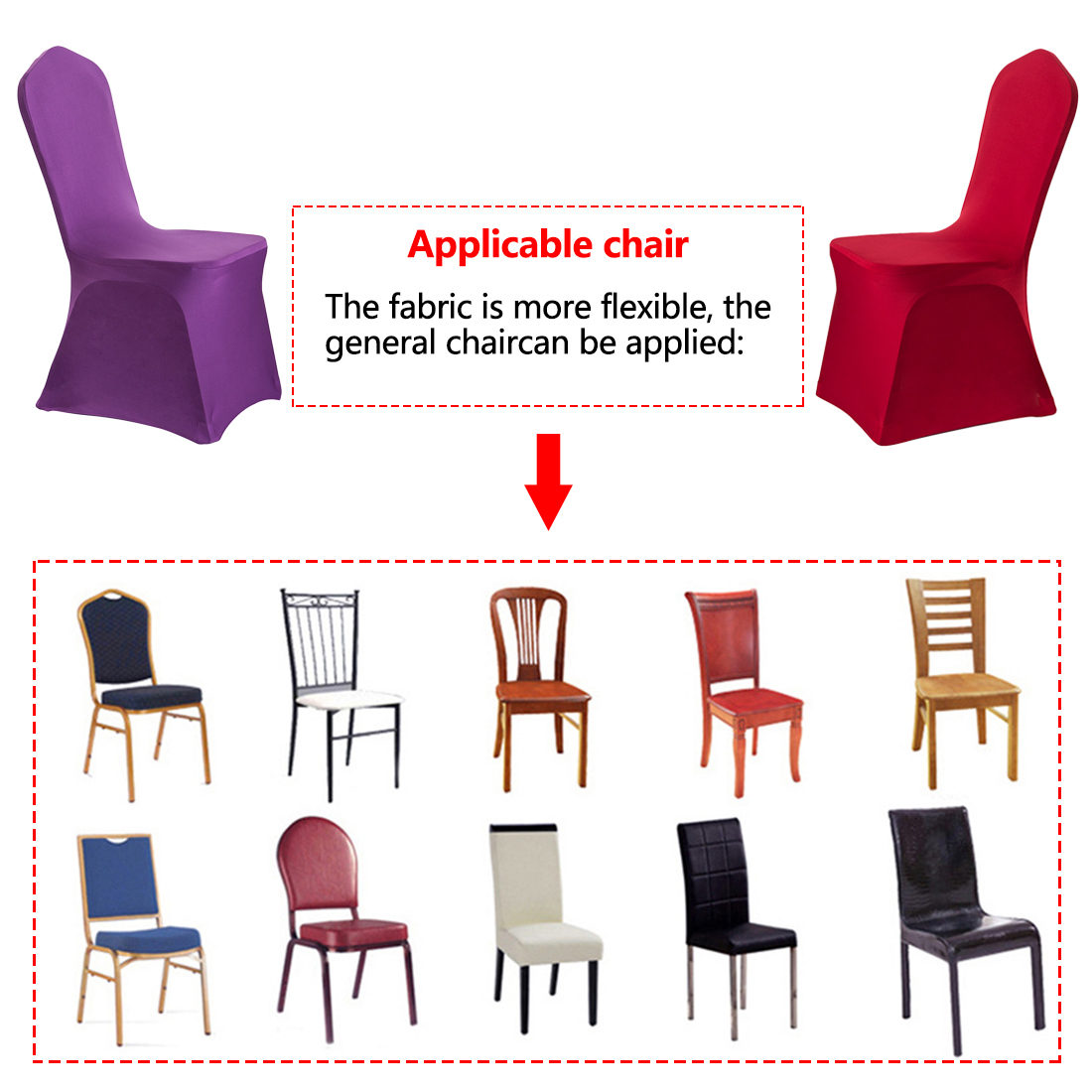 US $4.58 15% OFF|16 Pure Colors fundas sillas comedor elastica for weddings banquet party decoration stretch chair cover free shipping in Chair Cover