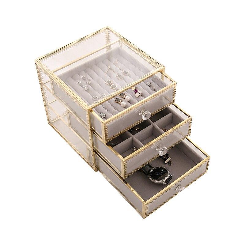 Vintage ทองแดงแก้ว desktop storage กล่องตกแต่งกล่องลิ้นชักเครื่องสำอางค์กล่อง-ใน กล่องและถังเก็บของ จาก บ้านและสวน บน   1