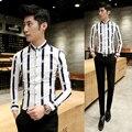 2016 Herren Shirts Stylish Clothing Man Camisas Social Masculina Korea Shirt Mens Clothing Stripe Slim Fit  Fashion Office Dress