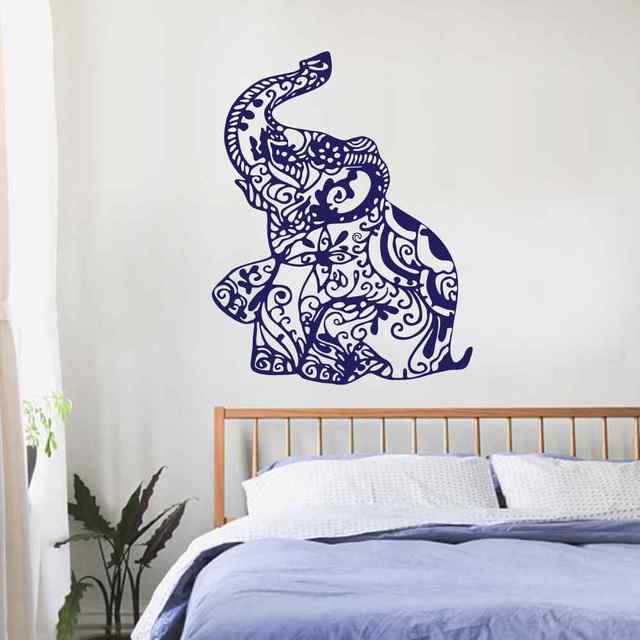 Elephant Wall Decal Stickers Floral Patterns Yoga Decals Indie Wall Art  Boho Bedding Nursery Bedroom Dorm