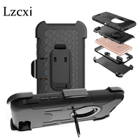 Lzcxi Case For IPhone 7 Heavy 3 In 1 Armor Silicone PC Hard Ring Stand Swivel