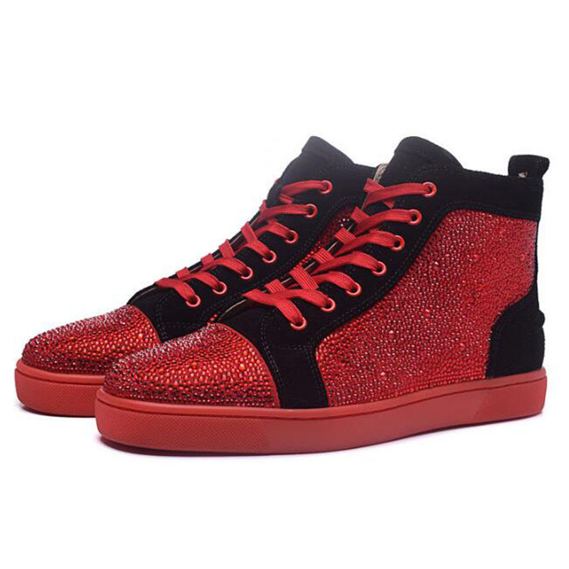 Top Flats Da Alta Marca Para Tênis Mens Homens Couro Bling Sapatos Okhotcn Design Moda Vermelho Casuais De Glittler Eq4Pt7OUwt