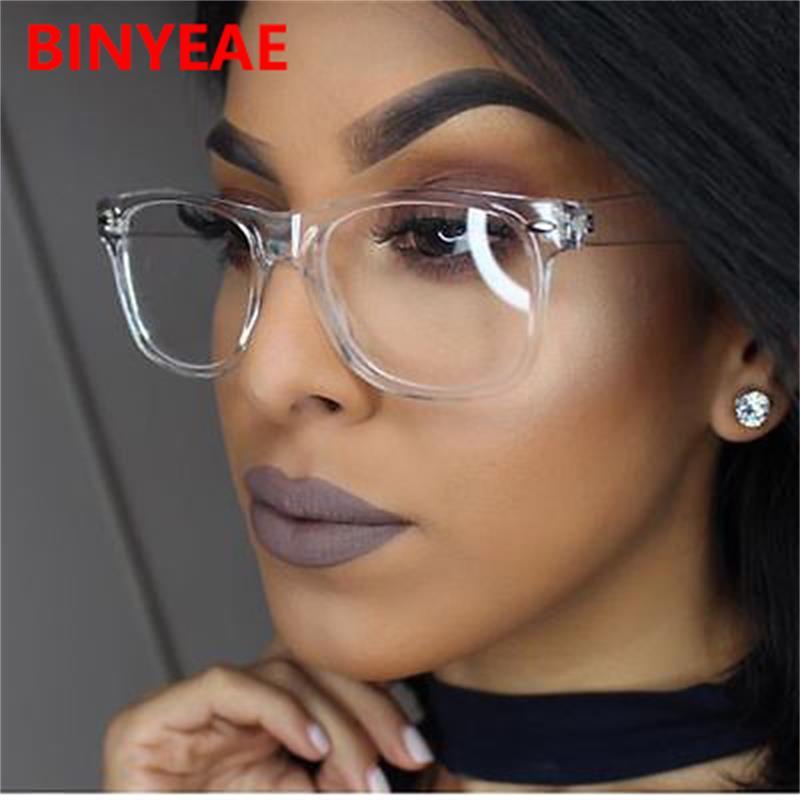 Retro Brille Transparente Square Optische Brillen Rahmen Frauen Marke Designer Klar Mode Gefälschte Gläser Große Brillen Rahmen GroßE Sorten Brillenrahmen