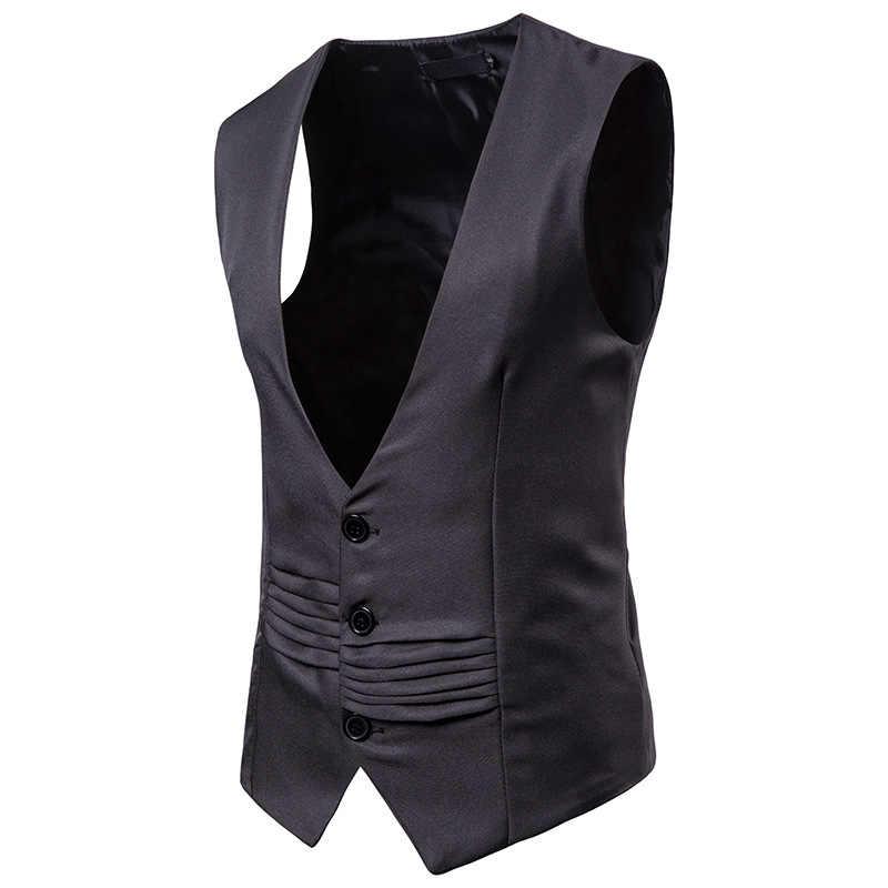 フォーマルビジネススーツベスト男性スリムフィットシングルブレスト衣装ベストオムファッション V ネックホワイトメンズタキシードジレオム