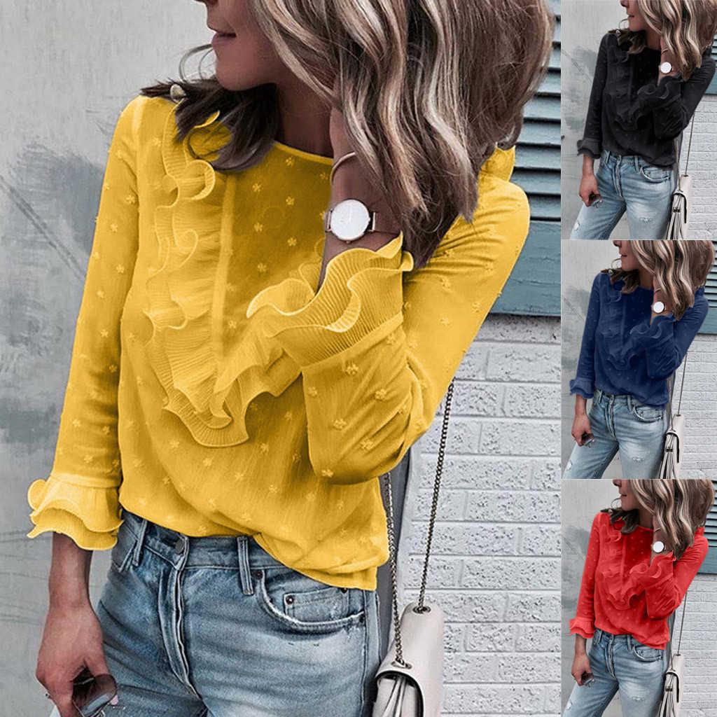 JAYCOSIN женская блузка в горошек с круглым вырезом и длинным рукавом Цветочный Бандаж с v-образным вырезом рубашка рукава Новая мода осень женские топы 719