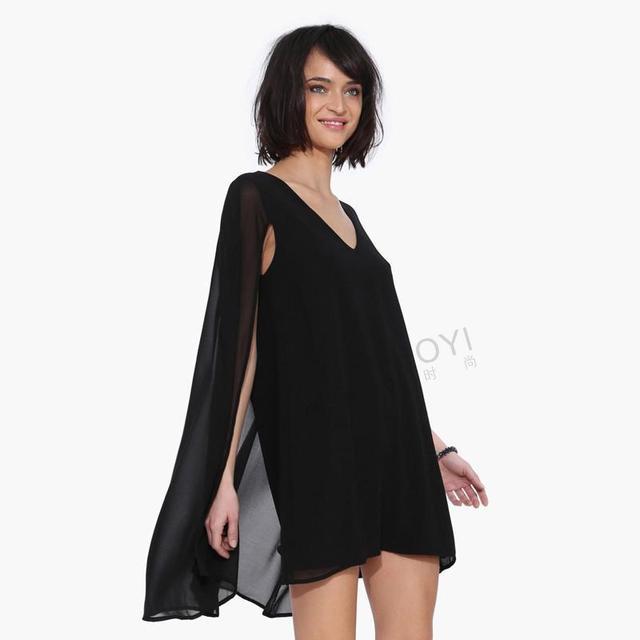 Black short sleeve cape dresses