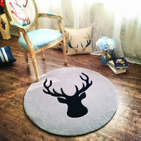 Nordic wind deer head round carpets personalized encryption living room carpet study bedside basket computer chairs round blank
