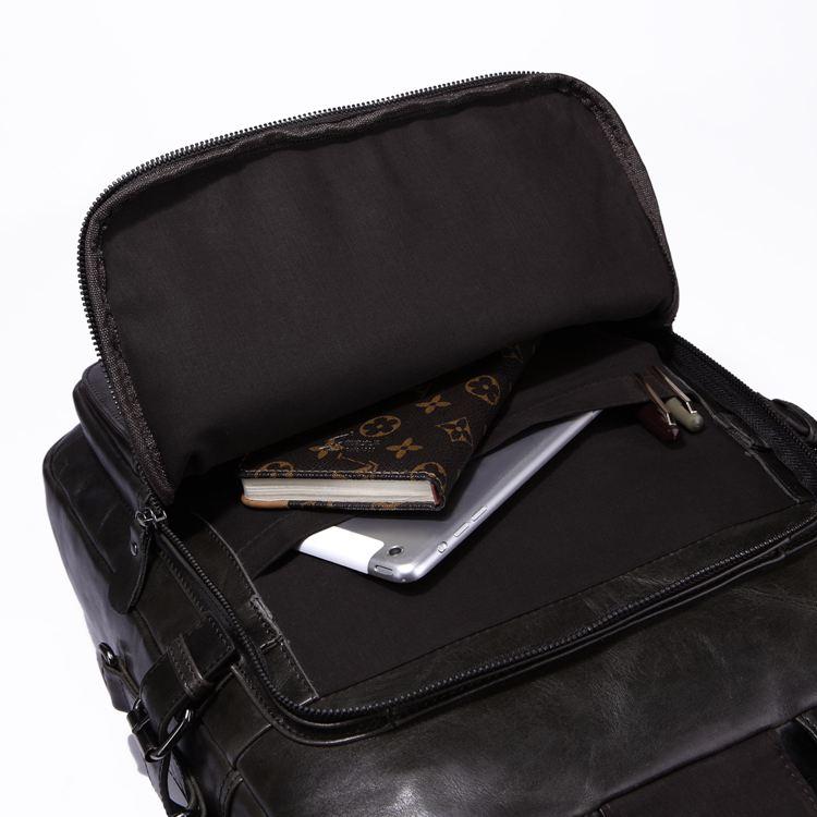 Grey Multifunctionl Männer 100 Reisetasche Unisex Mode Rucksack Schwarz Echt Umhängetasche 7065j Grau Kühlen Leder Jmd Laptop Black wZR8qPH