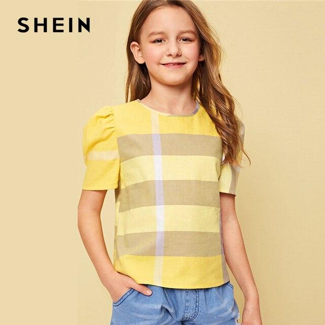 SHEIN Kiddie/желтая Повседневная Блузка в клетку с пуговицами на спине для девочек футболки для подростков 2019 г., летняя милая блузка в полоску с пышными рукавами, рубашки