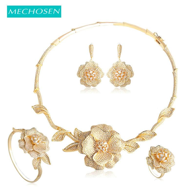 Meselected exquis AAA cubique zircone collier boucles d'oreilles Bracelet bague ensembles classique grande fleur forme mariage bijoux ensembles