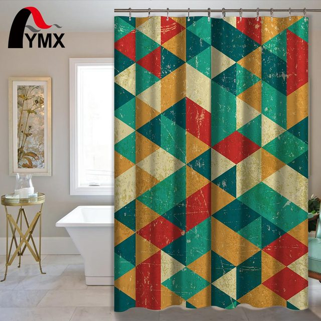 Colorful Geometric Pattern Shower Curtain With 12 Hooks Bathroom Product Polyester Waterproof Home Bath