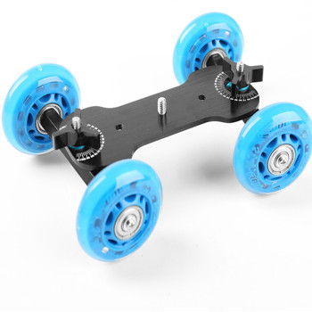 Mini 4-Wheel Desktop Tabletop Dolly Car Truck Skater Slider Wheel Dolly DSLR Video Camera image