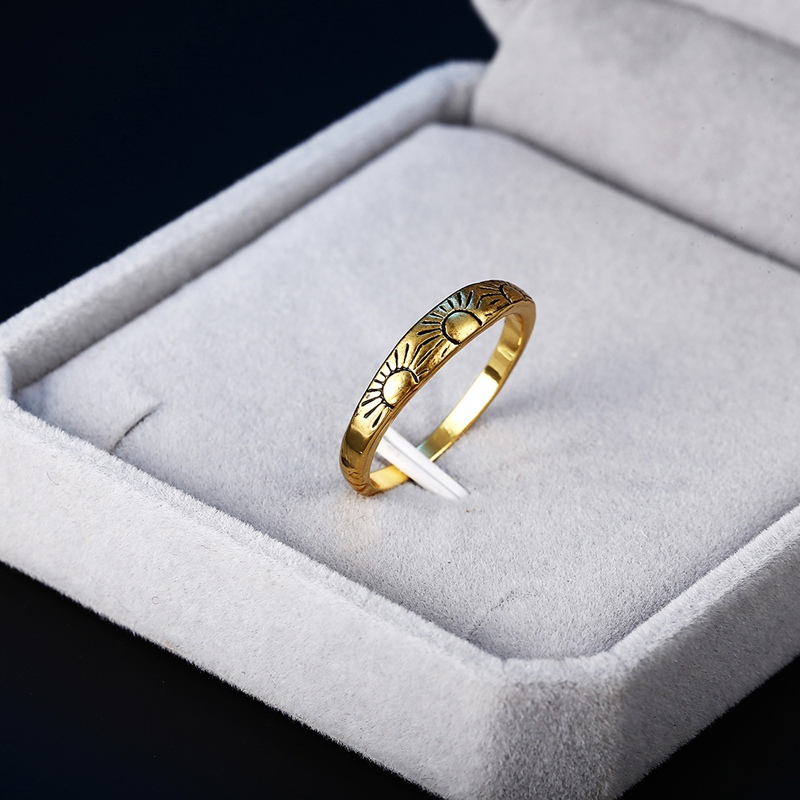 Female New Designed Sunshine Finger Ring Vintage Gold Filled Engagement Rings For Women Fashion Anniversary Jewelry Best Gift