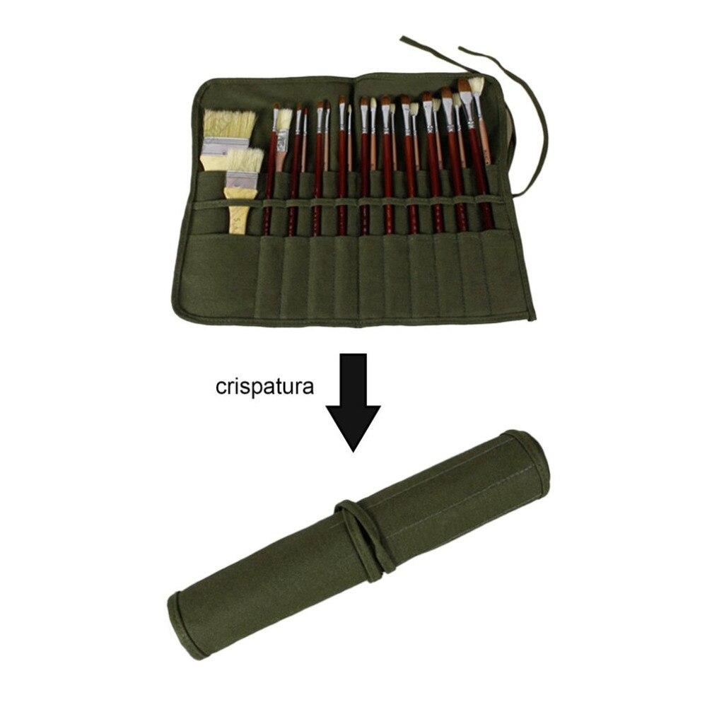 High Grade Canvas Gouache Pen Curtain Oil Painting Pen Bag Gouache Bag Double Layer Roll Up Bag Folk Style Army Green