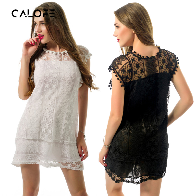 CALOFE Plus Size Summer Dress 2018 Women Tassel Black White Mini Lace Dress Brand Casual Beach Sexy Party Club Dresses Vestidos