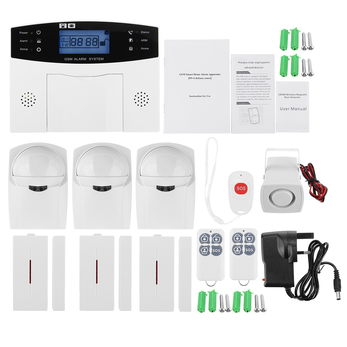 NEW LCD Wireless GSM Home Burglar Alarm System Motion / Door Window Sensor Home Security Safety