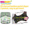 Baby Washable Reusable Real Cloth Pocket Nappy Diaper Cover Wrap, Charcoal Bamboo Pocket Diaper, suits Birth to Potty One Size
