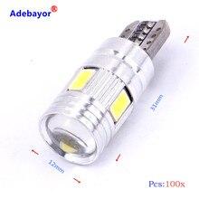 Ampoule led T10 canbus 6 SMD 100 puce 5630 W5W 501 sans erreur, indicateur de lentille de voiture, lumière de dôme à coin, 194 pièces/lot