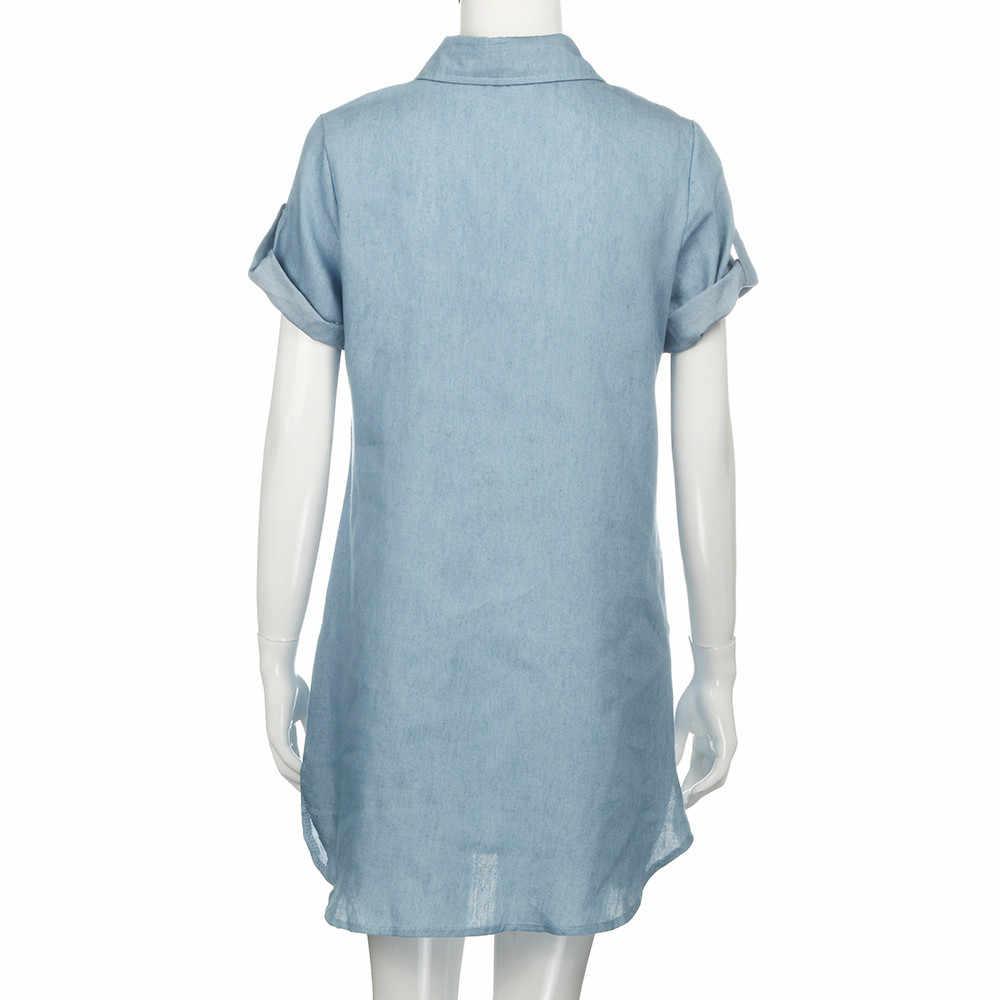 2019 женское модное летнее повседневное джинсовое платье с коротким рукавом высокого качества, однотонные джинсовые платья с отложным воротником, Мини Вечерние платья ol