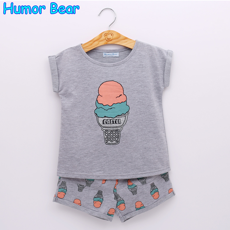 Humor Bear Grils Fashion Ice Cream Clothing Sets Brand Girls Clothes Kids Clothing Sets T-Shirt + Short 2Pcs Suits KIDS SUIT humor bear new girls clothes t shirt skirt 2pcs kids clothing set girls clothing sets kids clothes