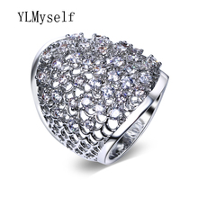 Trendy Wide hollow design ring high quality crystal bague femme white color alibaba-express anel fashion jewelry rings for women