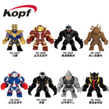 Single Sale 7CM Big Size Building Blocks Super Heroes Thanos Hulkbuster Venom Groot Alesksei Children Gift Toys PG8241