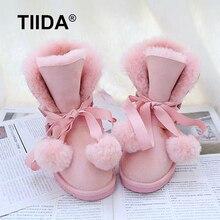 TIIDA 2016 New Fashion Women Snow Boots Warm Wool Boots 100% Natural Fur Winter Boots Genuine Sheepskin Leather Women Boots