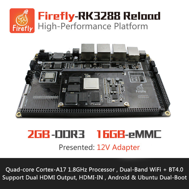 Firefly-RK3288 Reload Development Board , MiniPC , Quad-core A17 1.8GHz , Support Ubuntu&Android , HDMI2.0 4K , 2.4G/5G AC WiFi