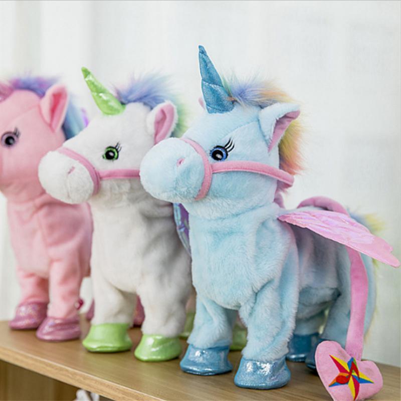 Unicornio lindo Correa Flying Horse Muñeca puede caminar puede cantar eléctrica dragón caballo muñeca para Poni caballo unicornio peluche juguete