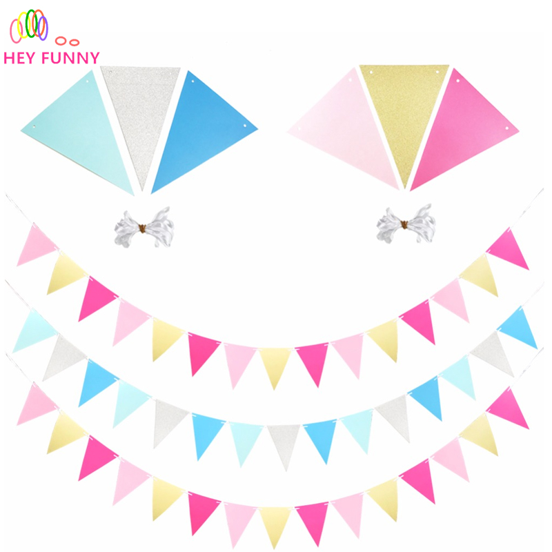 Blue Sparkle Happy Birthday Paper Flag Banner Bunting