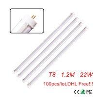 100 шт. высокого качества 4ft 1,2 м 1200 мм G13 T8 светодиодные лампы светодиодные трубки высокой супер яркий 22 Вт 3000 к-6500 К теплый белый/холодный белы...