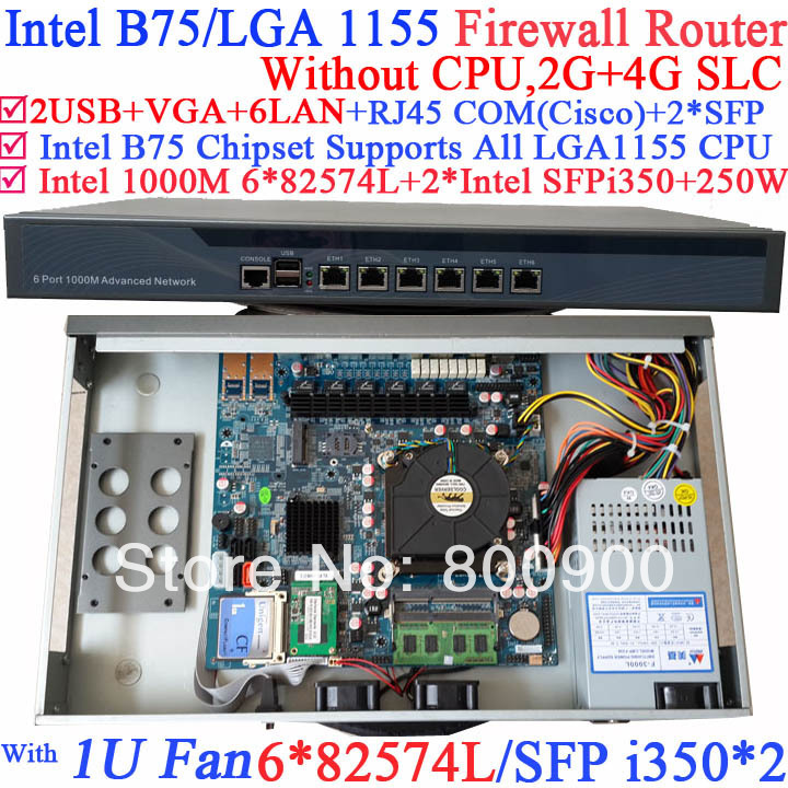 routerboard 1U Network Firewall Router with Six 1000M 82574L Gigabit NIC two intel i350 SFP fiber ports NO CPU 2G RAM 4G SLC 1u network router products with six intel pci e 1000m 82574l gigabit lan intel core i3 3210 3 2ghz mikrotik ros 2g ram 4g slc