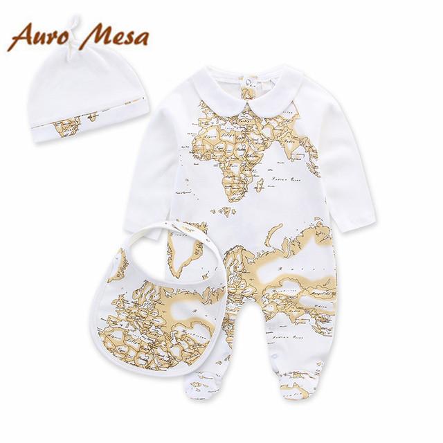 Marca de moda Bebé Conjunto Mapa Imprimir niño Recién Nacido Del Mameluco Del Mono + Babero + Hat