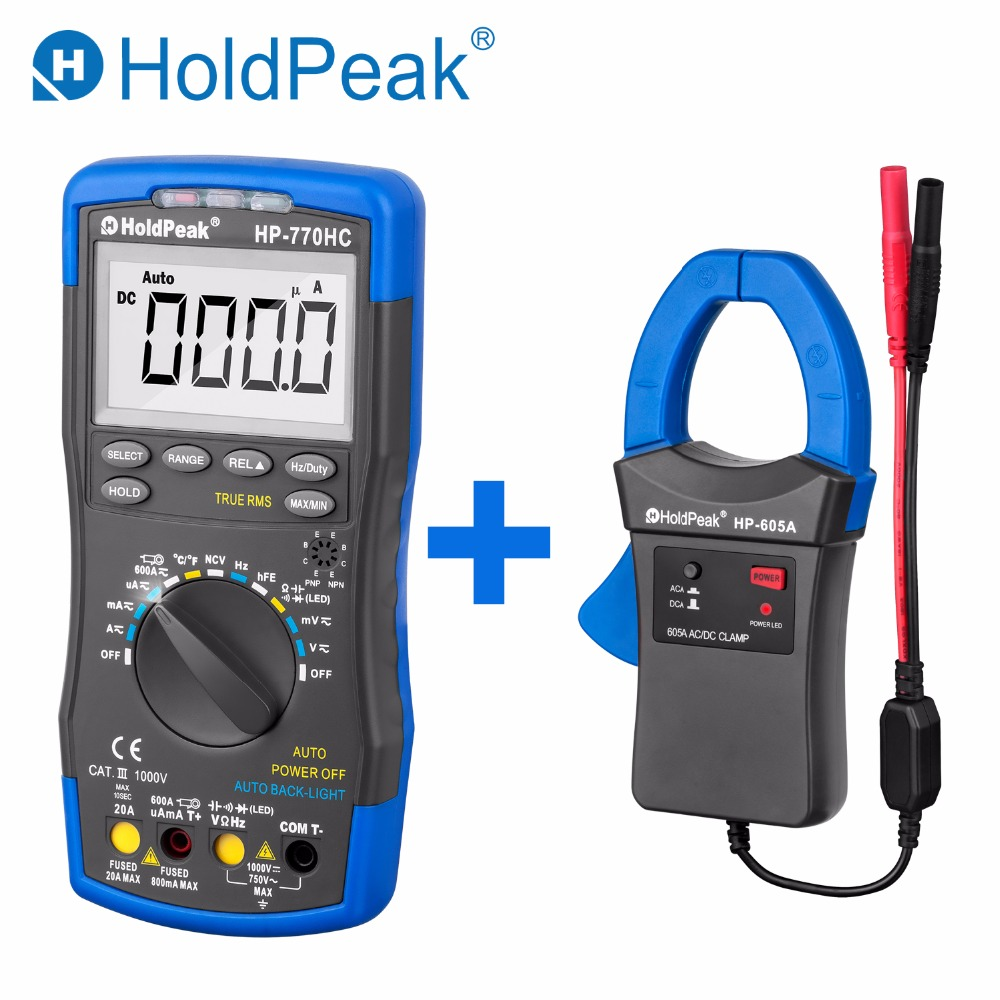 HoldPeak HP 770HC True RMS Autoranging Probe Digital Multimeter With NCV HP 605A Clamp Adapter 600A