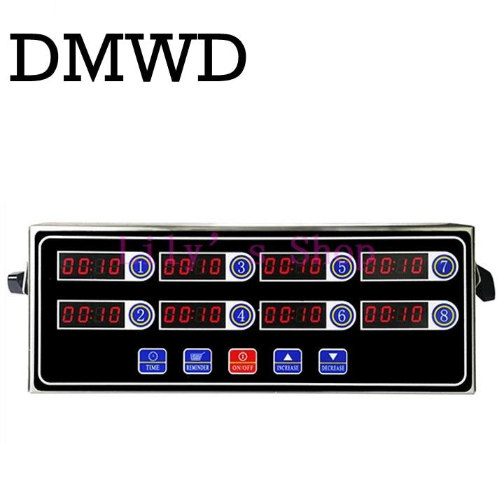 DMWD Commercial eighth 8 channel key kitchen timer Digital button timing reminder Restaurant loud Alarm Countdown Hamburger shop