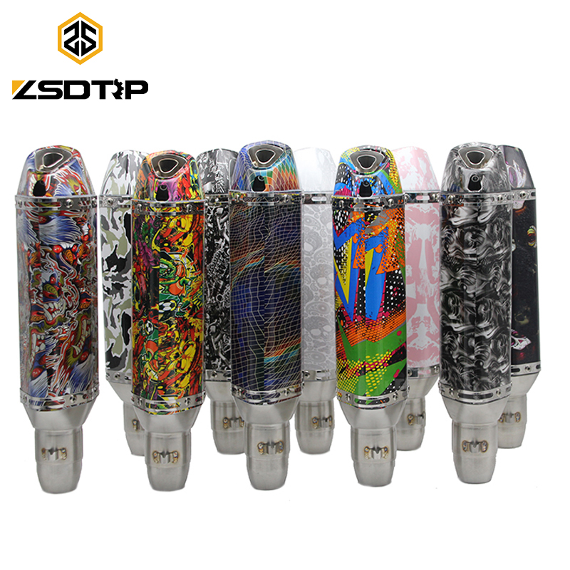 ZSDTRP 51MM Motorcycle Graffiti Printed Exhaust Muffler Pipe With Moveable DB Killer Z800 R1 ER6N CBR250R