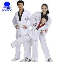 ZOOBOO Children Adult Taekwondo Uniform Cotton Fabric Karate Judo Taekwondo Dobok Mooto With White Belt Men