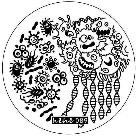 新しいプレミアムスタンピングプレートhehe89微生物胚芽sprial dnaネイルアートスタンプテンプレート画像転送スタンプ