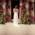 2016 New Bohemia Wedding Dress V Neck Cap Sleeve Open Back Lace Chiffon Skirt Summer Wedding Dresses Backless BoHo Bridal Gown