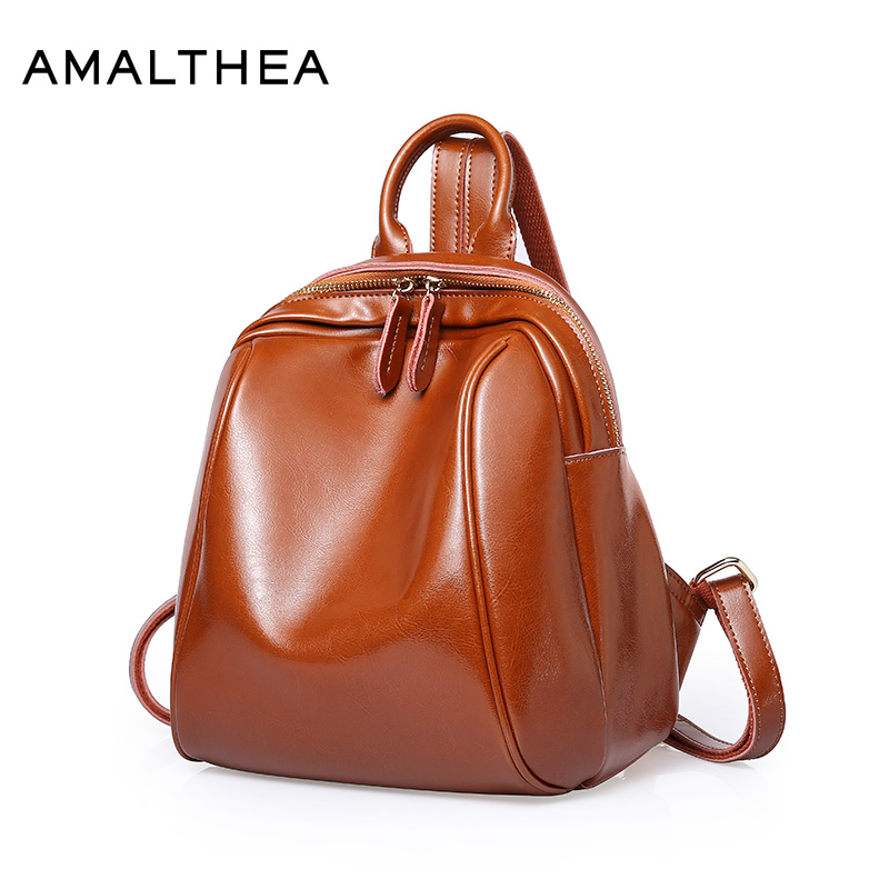 AMALTHEA Brand Women Backpacks For Teenage Girls Schoolbag Bagpack Oil Wax Leather Black Backpack Back Bag School Bags AMAS056 backpack women korean style school bags oil wax cowhide fashion backpacks for teenage girls mochila designer backpack travel bag