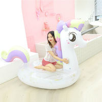 Rooxin Pool Float Giant Unicorn Inflatable Mattress Swimming Ring for Adults Floating Bed Inflatable Circle Pool Party Toys